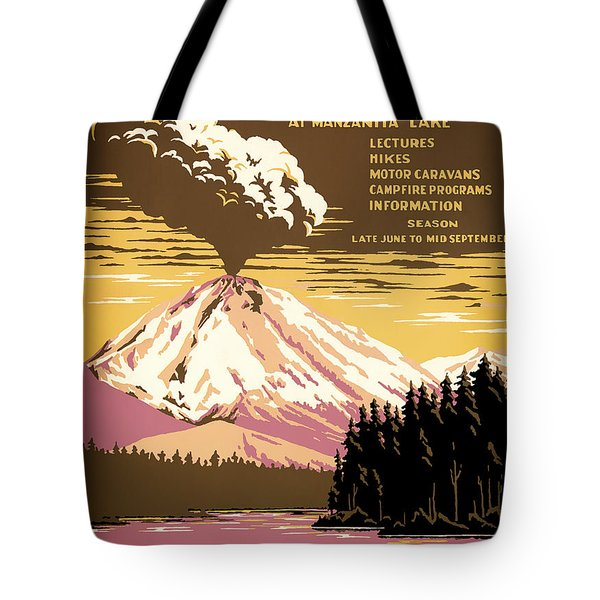 Lassen Volcanic National Park Travel Poster 1938 Tote Bag