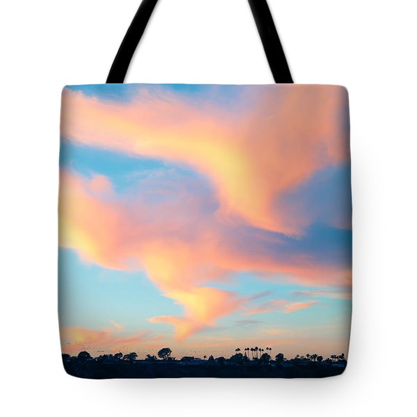 Fiery Sunset And Lenticular Cirrus Clouds - Newport Beach Backbay California Tote Bag