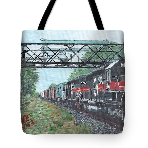 Last Train Under The Bridge Tote Bag