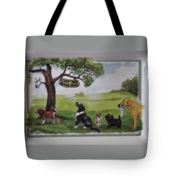 Last Tree Dogs Waiting In Line Tote Bag by Jay Milo
