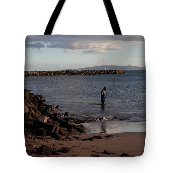 Late Afternoon Angler - Maalaea-maui Tote Bag by Paulette B Wright