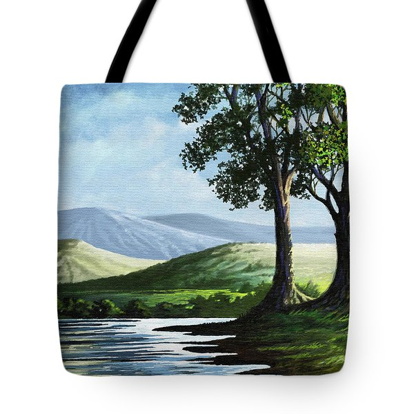 Tote Bag featuring the painting Late Afternoon by Anthony Mwangi