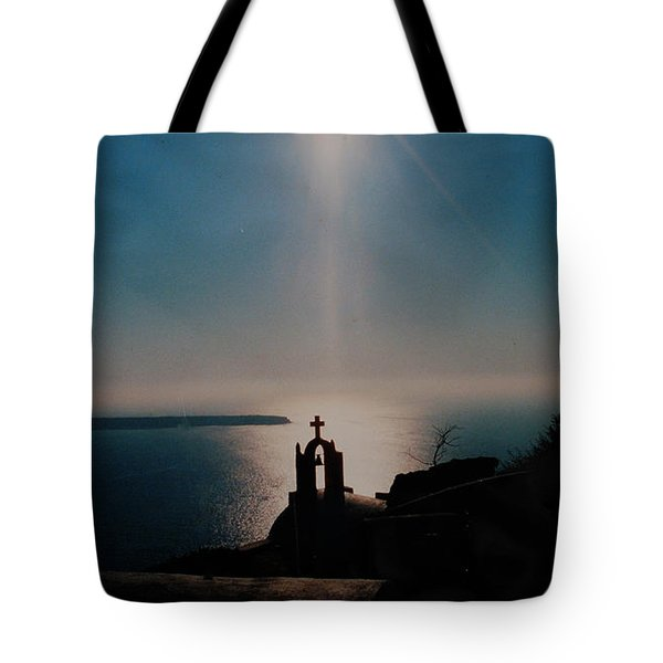 Late Evening Meditation On Santorini Island Greece Tote Bag