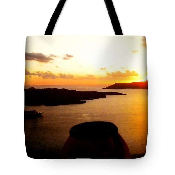 Late Sunset Santorini  Island Greece Tote Bag