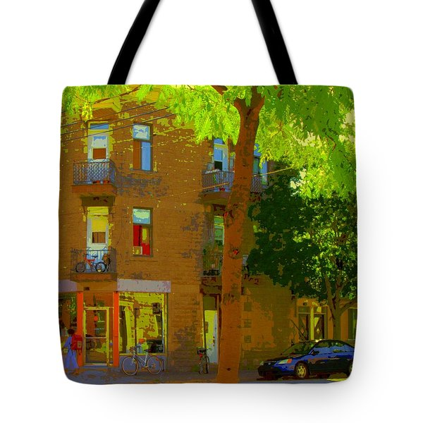 L'atelier Boutique Rue Clark And Fairmount Art Of Montreal Street Scene In Summer By Carole Spandau  Tote Bag by Carole Spandau