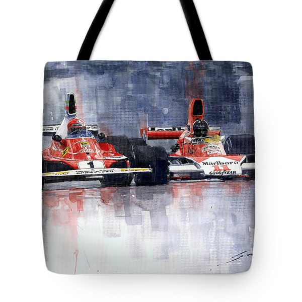 Lauda Vs Hunt Brazilian Gp 1976 Tote Bag