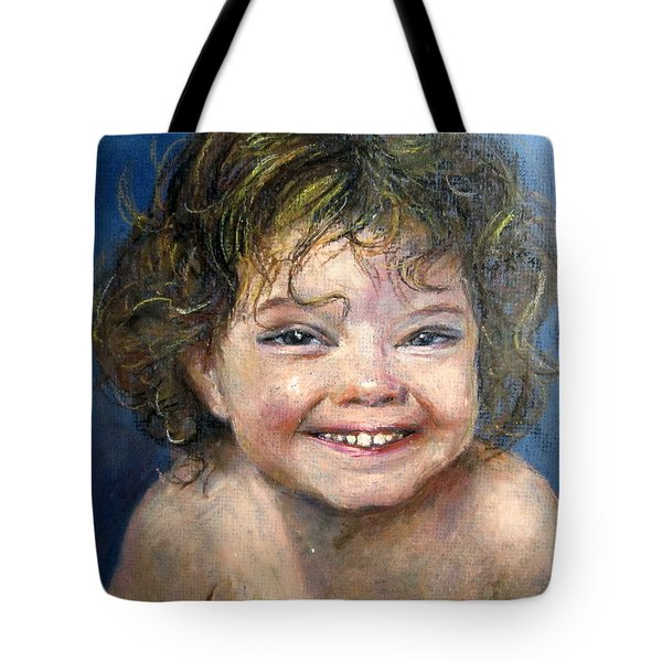 Tote Bag featuring the painting Giggle  by Jieming Wang