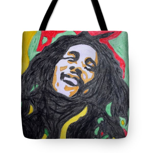 Tote Bag featuring the painting Happy Bob Marley  by Stormm Bradshaw