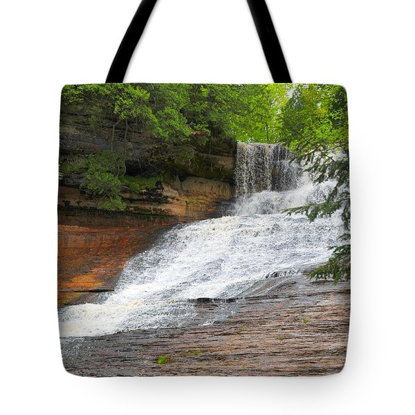Tote Bag featuring the photograph Laughing Whitefish Waterfall by Terri Gostola