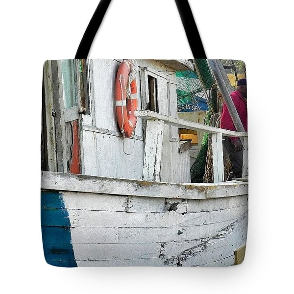 Laughs On A Shrimpboat Tote Bag by Patricia Greer
