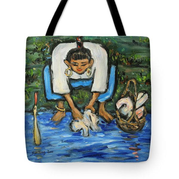 Tote Bag featuring the painting Laundry Girl by Xueling Zou
