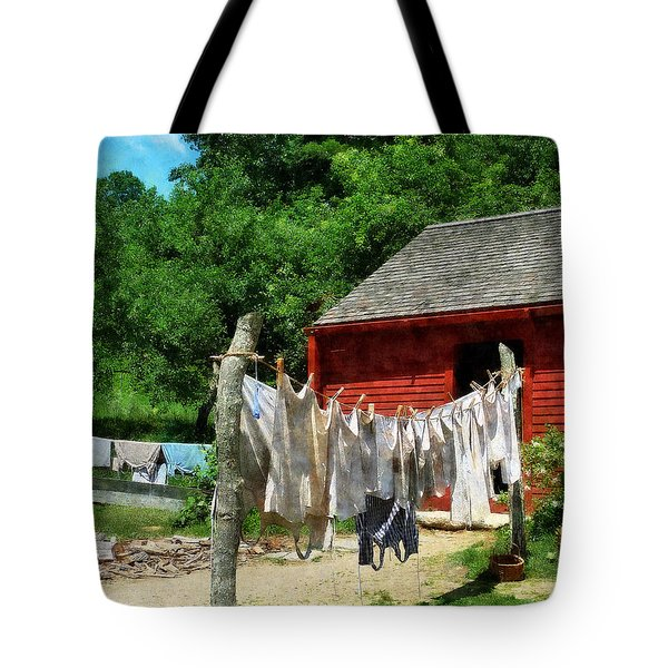 Tote Bag featuring the photograph Laundry Hanging On Line by Susan Savad