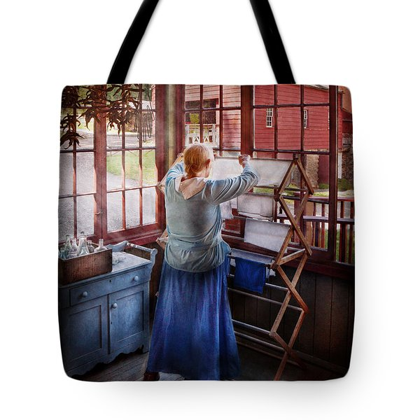 Laundry - Miss Lady Blue  Tote Bag by Mike Savad