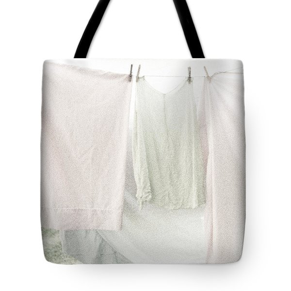 Tote Bag featuring the photograph Laundry On The Line In Pink And Green by Brooke T Ryan