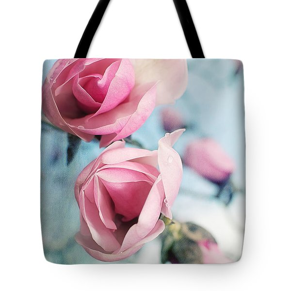 Tote Bag featuring the photograph Laura Ashley Inspired Springtime Magnolias On Blue Sky by Lisa Knechtel