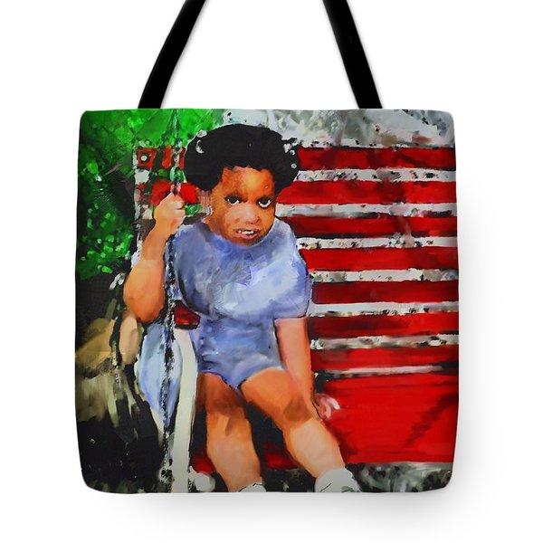 Tote Bag featuring the painting Lauren On The Swing by Vannetta Ferguson