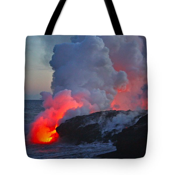 Lava Flow At Sunset In Kalapana Tote Bag