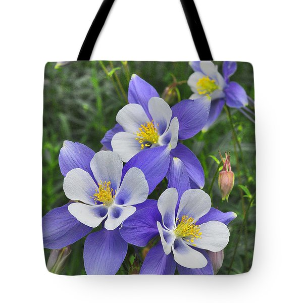 Tote Bag featuring the digital art Lavender And White Star Flowers by Mae Wertz