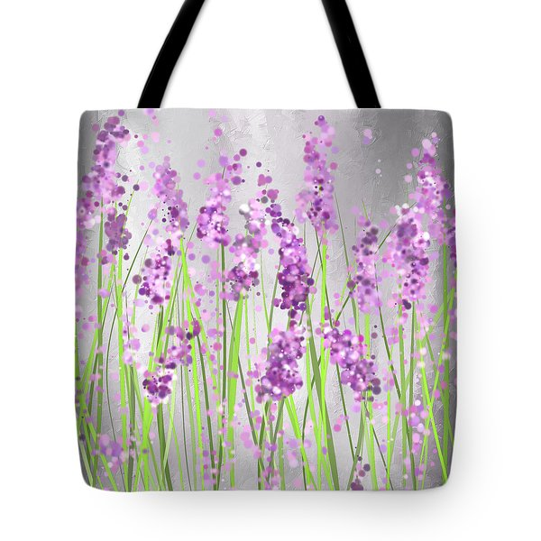 Lavender Blossoms - Lavender Field Painting Tote Bag
