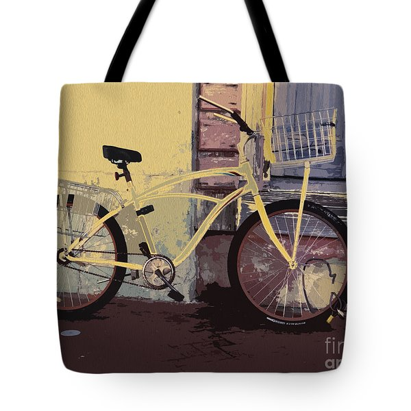 Lavender Door And Yellow Bike Tote Bag