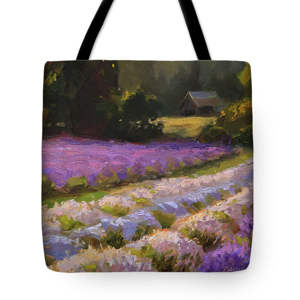 Lavender Farm Landscape Painting - Barn And Field At Sunset Impressionism  Tote Bag