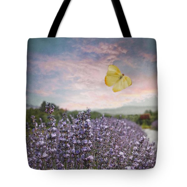 Lavender Field Pink And Blue Sunset And Yellow Butterfly Tote Bag