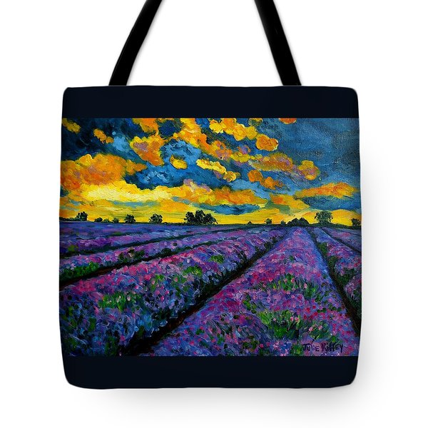 Lavender Fields At Dusk Tote Bag by Julie Brugh Riffey