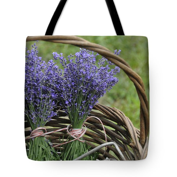 Lavender In A Basket Tote Bag by Cheryl McClure