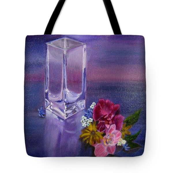 Tote Bag featuring the painting Lavender Vase by LaVonne Hand