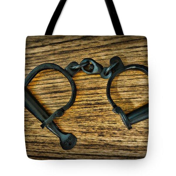 Law Enforcement - Antique Handcuffs Tote Bag by Paul Ward