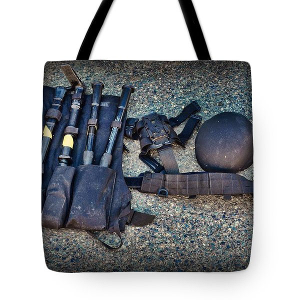 Law Enforcement -swat Gear - Entry Tools Tote Bag by Paul Ward