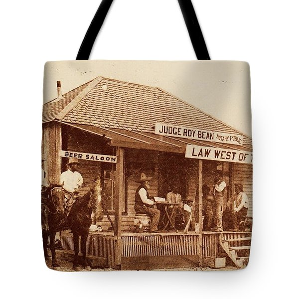 Law West Of The Pecos Tote Bag by Pg Reproductions