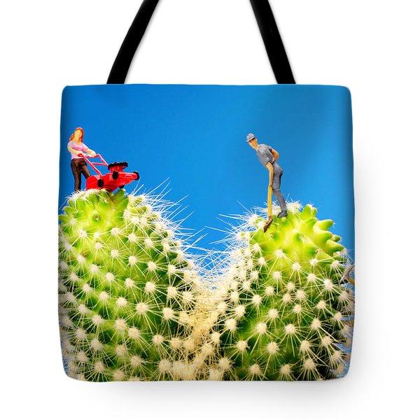 Lawn Mowing On Cactus II Tote Bag by Paul Ge