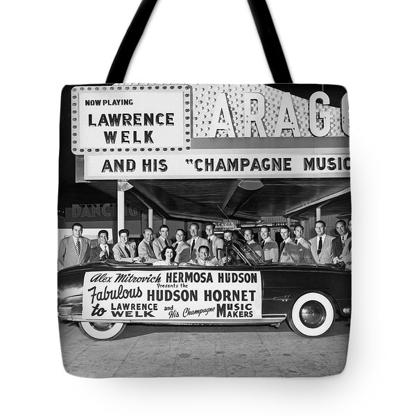 Lawrence Welk In His Hudson Tote Bag by Underwood Archives