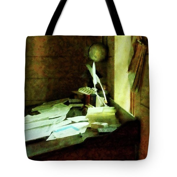 Tote Bag featuring the photograph Lawyer - Desk With Quills And Papers by Susan Savad