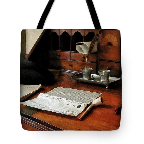 Tote Bag featuring the photograph Lawyer - Quill Papers And Pipe by Susan Savad