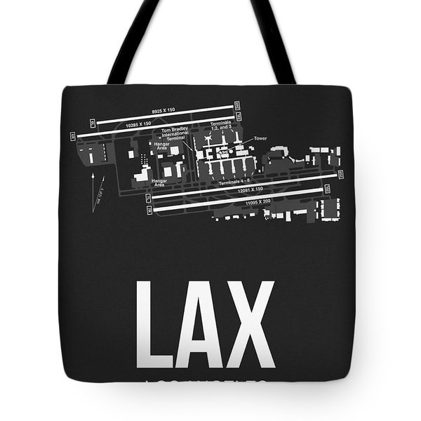 Lax Los Angeles Airport Poster 3 Tote Bag by Naxart Studio