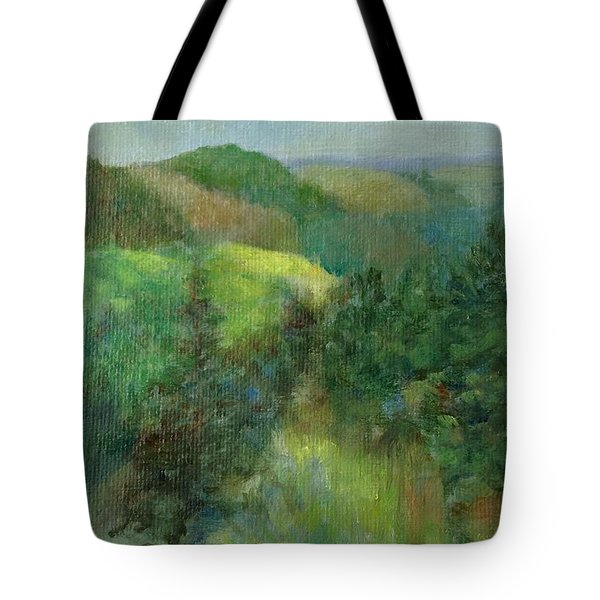 Layers Of Mountain Ranges Colorful Original Landscape Oil Painting Tote Bag