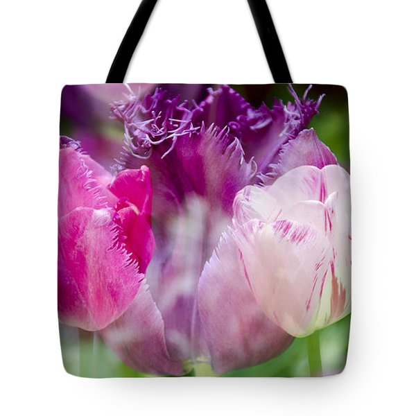 Layers Of Tulips II Tote Bag by Penny Lisowski