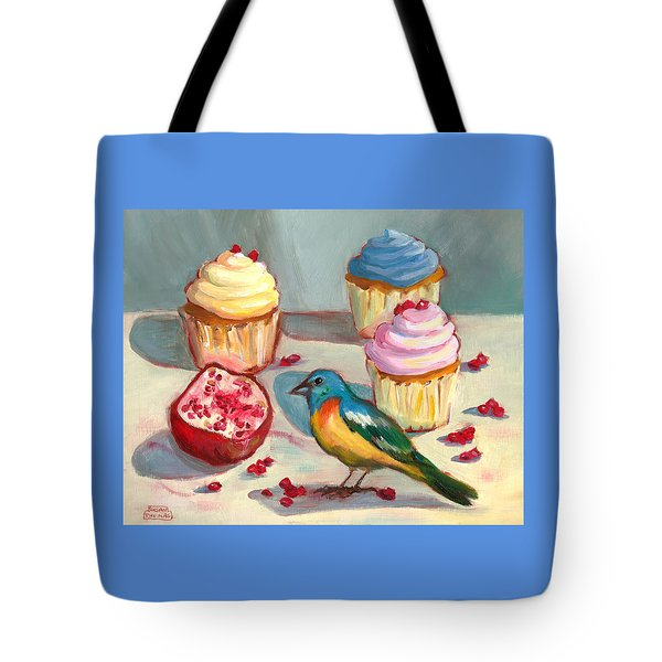 Lazuli Bunting And Pomegranate Cupcakes Tote Bag
