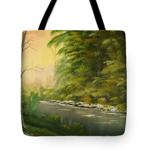 Tote Bag featuring the painting Lazy River by Chris Fraser