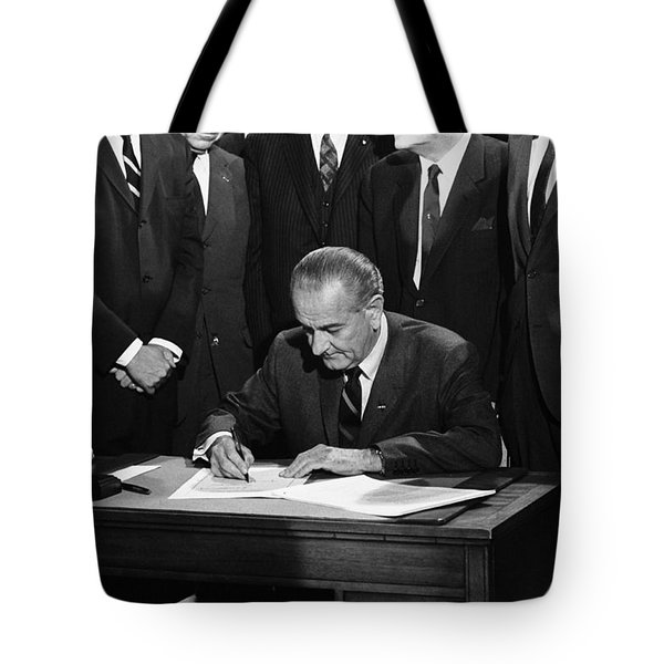 Lbj Signs Civil Rights Bill Tote Bag by Underwood Archives Warren Leffler