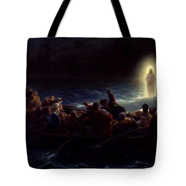 Le Christ Marchant Sur La Mer Tote Bag