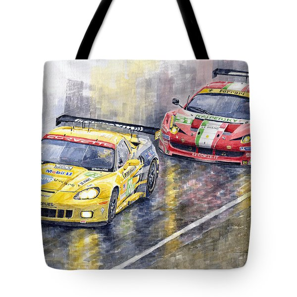 Le Mans 2011 Gte Pro Chevrolette Corvette C6r Vs Ferrari 458 Italia Tote Bag by Yuriy  Shevchuk