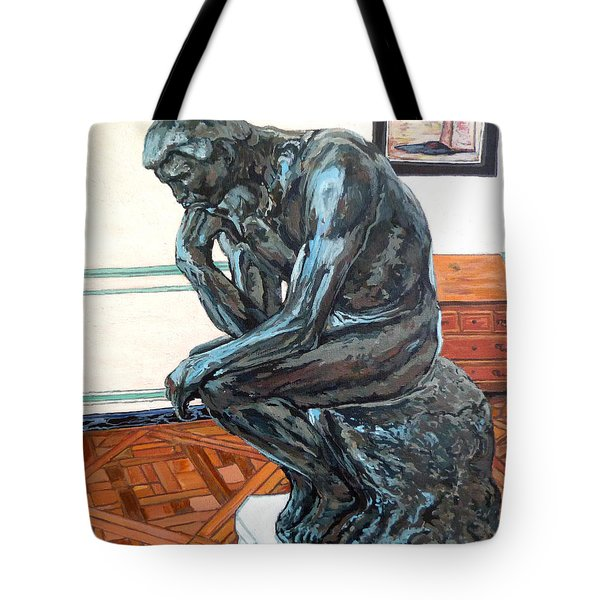 Tote Bag featuring the painting Le Penseur The Thinker by Tom Roderick