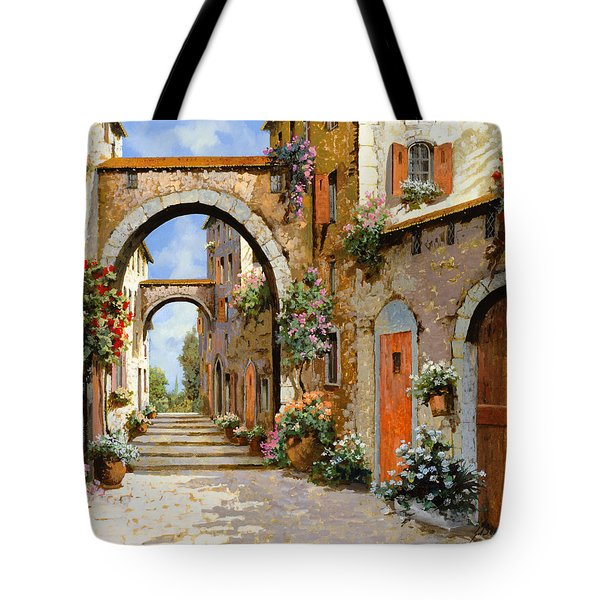 Tote Bag featuring the painting Le Porte Rosse Sulla Strada by Guido Borelli