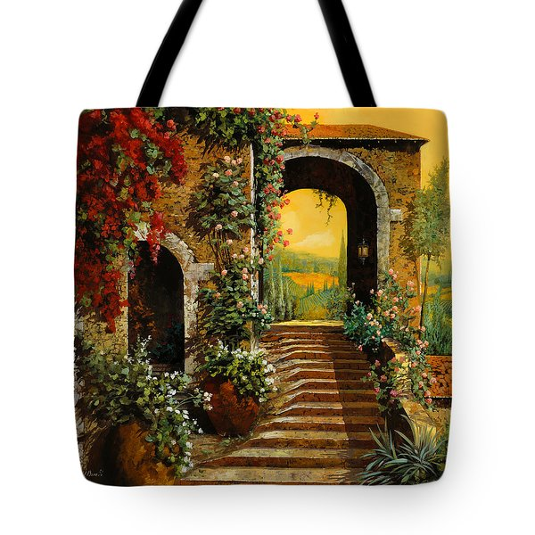Tote Bag featuring the painting Le Scale   by Guido Borelli