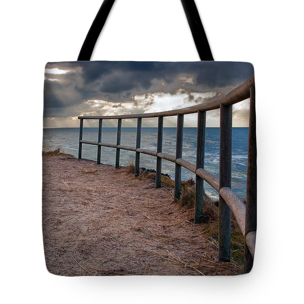 Rail By The Seaside Tote Bag