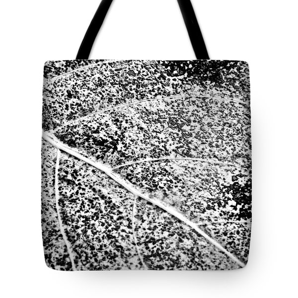 Tote Bag featuring the photograph Leaf Abstract In Bw by Greg Jackson