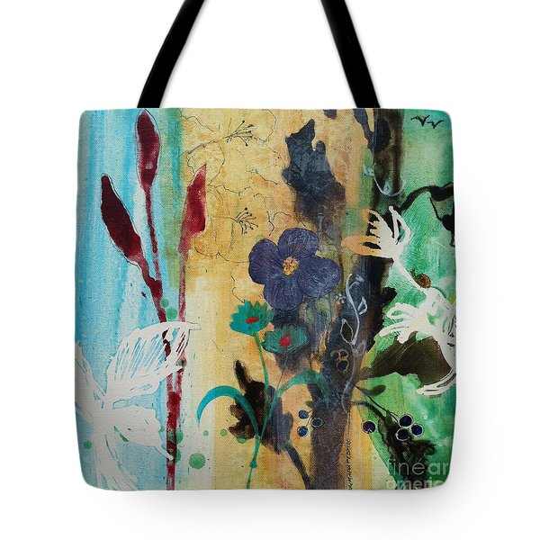 Tote Bag featuring the painting Leaf Flower Berry by Robin Maria Pedrero